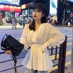 【tops】ファッション無地Vネック着痩せシャツ22421192
