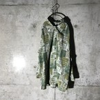 [used] thin green designed shirt