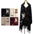 【猫柄】秋冬ストールボタン&ポケット付チェック柄 【ポンチョ ストール】