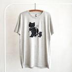 親子熊のTシャツ / 薄いグレー(缶バッジ付き)