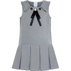 《school collection》 Dress Pleated White Black Plaid Collar (送料無料)