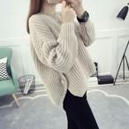 【tops】スリットゆったり雰囲気カジュアルセーター25636636