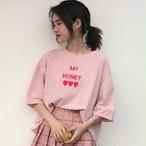 【tops】ガーリー系ピンク半袖ラウンドネックTシャツ17869217
