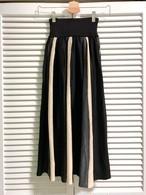 ストライプの配色スカート グレー×ベージュ×ブラック