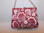 ローズ色花ビーズビィンテージバック(白牡丹製) rose color bead vintage bag(made in Japan)(No67)
