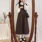 【送料無料】 レトロガーリー♡ ロング丈 ジャンパースカート フロントボタン ロングワンピ