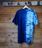 藍染藍染半分絞り模様Tシャツ