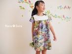 女の子のバックボタン花柄ワンピース(ニットレース・ガーデン)