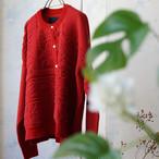 モールニットの赤いジャケットカーディガン *boussole(ブソル)