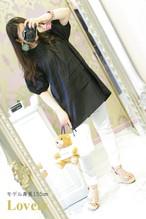 【アパレル・トップス】パフスリーブ コットンシャツ・ブラック