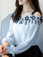 【tops】Popular design off shoulder fashion shirt