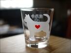 甲斐犬彫刻グラス(ハート&クローバー)