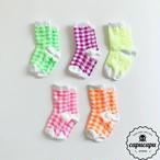 «予約» neon gingham check socks ネオン ギンガムチェック ソックス ママサイズあり