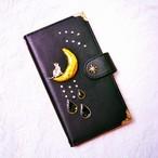 手帳型スマホケース『猫と月のいる星空-黒-』全機種お作り
