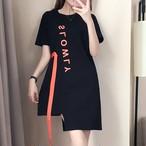 【dress】不規則アルファベットカジュアル切り替えストレートワンピース
