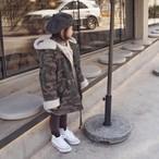 【即納】confetti 裏ポカ ボア ミリタリーフードコート 韓国子供服 子供服 韓国子供服コート 子供服ミリタリー