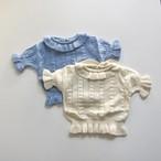 〔即納〕 half sleeve frill knit