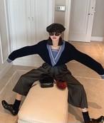 mm6レイヤードニット ニット セーター 韓国ファッション