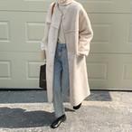 2色 ノーカラー ボアコート ロング丈 あったか 防寒 カジュアル 秋 冬 レディース ファッション 韓国 オルチャン