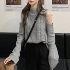 【tops】しゃれど満々ベアトップ大人女子のニットセーター