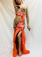 エジプト製 ベリーダンス 衣装 オレンジ&ピンク