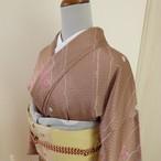 正絹綸子 ミルクティー色の小紋 袷の着物