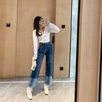 ストレートワイドロールアップデニム ワイドパンツ ワイドデニム デニム 韓国ファッション