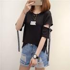 【tops】簡約カジュアル合わせやすいシンプルTシャツ