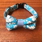 【特別価格】猫の首輪 リボン首輪 グログランリボン 花柄 ブルー