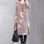 【dress】ルーズストラップ柄綿麻生地カジュアルワンピース