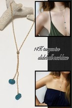 14KGF turquoise slideball necklace