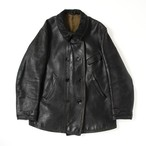 French vintage double breasted leather jacket
