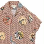 Japan vtg Hinahina 和柄 rayon aloha shirt