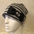 おリボンとお花のケア帽子 グレー✖️黒ボーダー