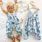 【年末一掃セール!80サイズ×1 】baby 部屋着 秋 サイズ 70 80 90 100  blue 赤ちゃん かわいい 女の子 ロンパース