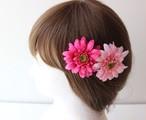 ピンク、薄ピンクガーベラの髪飾り