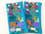 モン族刺繍♡アニマル刺繍ポーチ【ブルー】