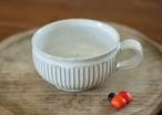 白釉スープカップ(鎬)