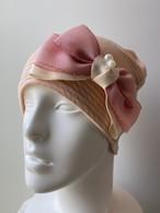 オーガニックコットンボーダー生地のケア帽子 ピンク