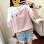 【tops】スウィート少女感満々切り替え丸ネック2色Tシャツ