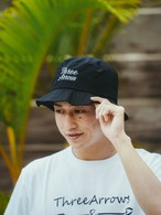 【6/2(WED)20:00 販売開始】ThreeArrows 刺繍 Nylon Bucket Hat (black)