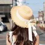 キュート♡リボン付き麦わら帽子 C0025