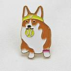 【Daily badge】ウェルシュコーギーピンバッジ(Tennis corgi)テニス【ブローチ 犬グッズ corgi】