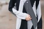 【即納】変形裾♪モノトーン 配色 ニットソー Tシャツ 109060