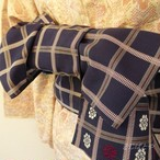 正絹 紺に格子の半幅帯 両面
