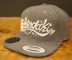 RAKUGAKI Melton Wool Main Logo SnapBack Cap Heather Grey x White