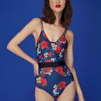 【タイ人気ブランド】Coralist Swimwear Vネックワンピース Kay Medi Bloom