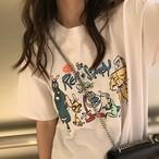 【tops】カジュアルプリント合わせやすい着痩せTシャツ