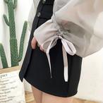 sling + see through lantern sleeve blouse 1656