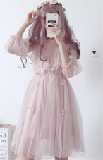 【dress】スウィート無地ラウンドネックデートワンピース12929145